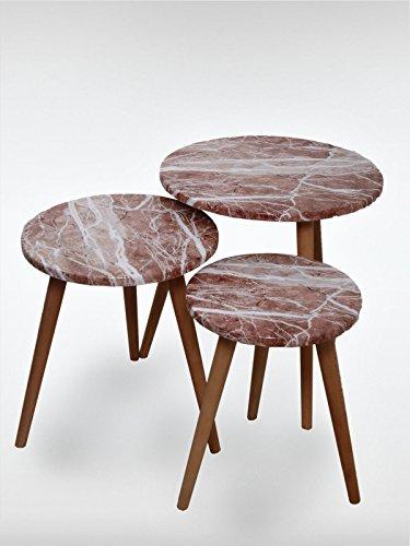 Designer beistelltisch 3er set marble rot couchtisch for Designer couchtisch amazon