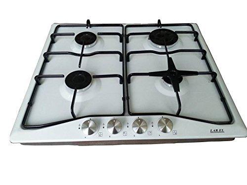 Placa de cocina de 4fuegos LAREL, de Gas, empotrable, Blanco, con válvula...