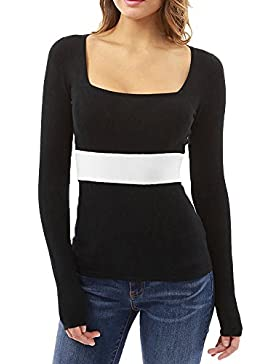 ShiFan Low Cut Camisetas Long Sleeve Blusas Top Camisa Entallada Mujer