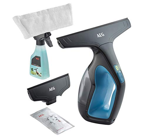 AEG WX7-90B2B Fenstersauger (Inkl. Zubehör + Abziehlippen aus Naturkautschuk, Sprühflasche, nur 60 db(A), breite Saugdüse, 3 LED-Ladekontrollleuchte, 110 ml Wassertank, 90 min Laufzeit, blau/grau)