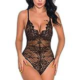 Amcool Sexy Dessous Damen Stickerei Garn Push up Dessous Bodysuit Reizwäsche Nachtwäsche Body Lingerie Body Einteiliger Pyjama Erotische Dessous