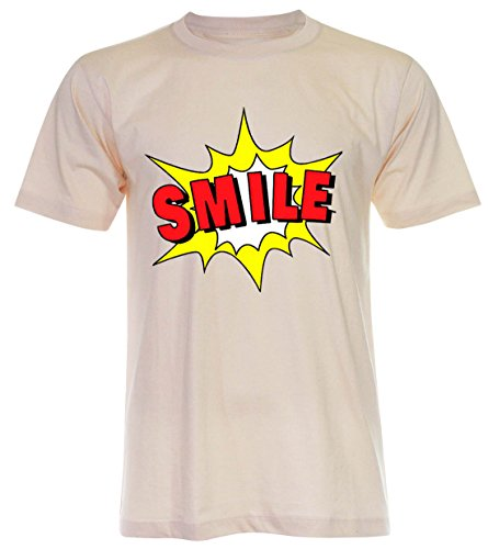PALLAS Unisex's Smile Funny T Shirt Light Beige