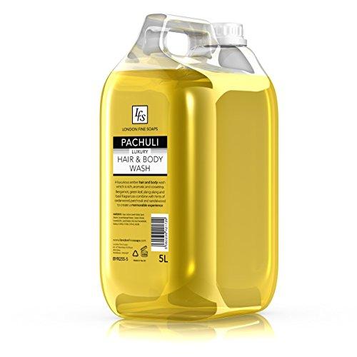 5 Stück Lotion (London feine Seifen byr255–5LFS Patchouli Luxus Haar und Körper waschen, 5l (2Stück))