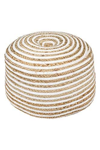 Orientalischer runder pouf aus Jute 50cm inklusive Füllung | Marokkanisches Sitzkissen Sitzpouf Kissen rund Chennai ø 50cm Rund | Orientalisches rundes Yogakissen Meditationskissen Leder-puff