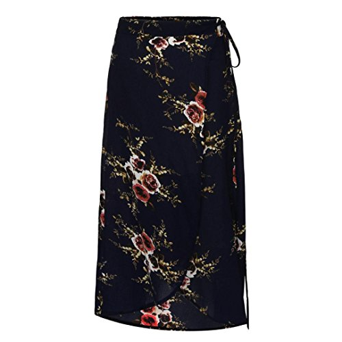 QUINTRA Women High-Waisted Boho Asymmetrical Split Ends Printing Sandy Beach Skirt