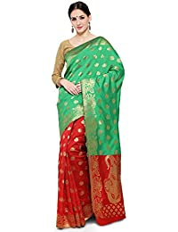 1ca5494c21fbda Shree Sanskruti Women's Tussar Silk Saree With Blouse Piece (Pari Banarasi  3 Rama Rani_Teal Green