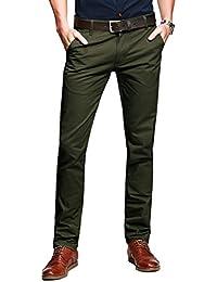 Match Herren Slim-Tapered Flat-Front Casual Hose #8025(8025 Armee gruen,30)
