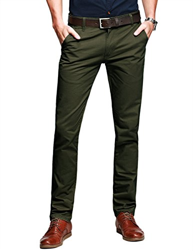 match-mens-slim-tapered-flat-front-casual-trousersarmy-greenw32-x-regular