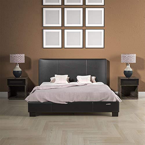Vida Designs Lisbon Double Bed, 4ft6 Bed Frame Upholstered UKFR Faux Leather Headboard Low Foot End Bedroom Furniture, Black