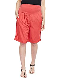 Oxolloxo Solid Red Maternity Shorts