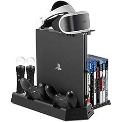 Younik PS VR base vertical con ventiladores de refrigeración, estación de carga para controles Dual Move Motion, Soporte para PSVR, 14 Slots para juegos y 3 puertos USB hub de PS4/ PS4 Slim/ PS4 Pro