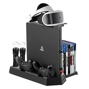 Younik Vertikaler Standfuß für PS4/PS4 Slim/PS4 Pro, 2 Controller Ladestation, 2 Move-Motion-Controller Ladestation, PS VR Headset Halterung, Spieleaufbewahrung für 14 Spiele und USB-Hub mit 3 Ports