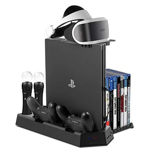 Younik PS4 / PS4 Slim / PS4 Pro Stand Verticale, Ventola di raffreddamento, Stazione Ricarica per Due Controller e per Due PS Move, Supporto per visore PSVR, Slot per 14 giochi e Hub con 3 porte USB