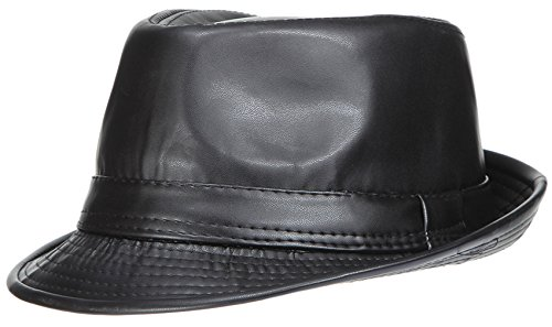 V-SOL Sombrero Topper de Cuero Artificial Unisex Hombre Negro