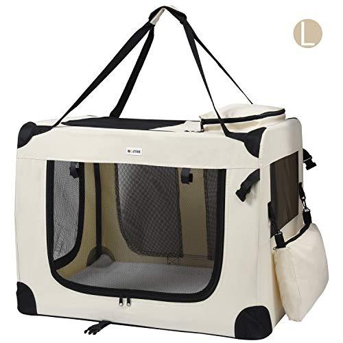 MC Star Trasportino Cane Borsa per Cane Taglia Media Portatile Pieghevole Trasportino Viaggio per Cani Animale Domestico Beige L