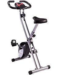 Ultrasport F-Bike, Fahrradtrainer, Heimtrainer, faltbares Fitnessfahrrad mit Trainingscomputer und Handpulssensoren