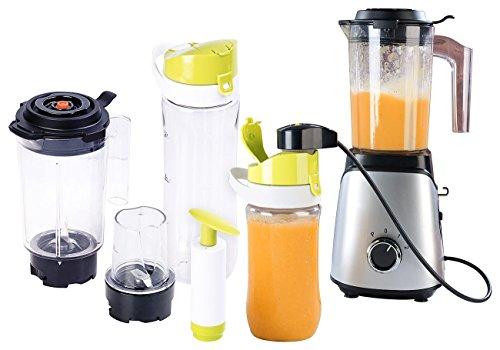 Rosenstein & Söhne Mixer mit Vakuumgeräten: 2in1-Vakuum-Mixer mit 3 Stufen, Mahlbecher und 2 Trinkflaschen (Mixer mit Vakuumpumpe) -