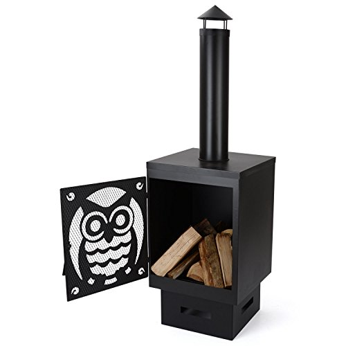 Buho 146cm Garden Chiminea Firepit Black Steel Outdoor Firepit Patio Heater