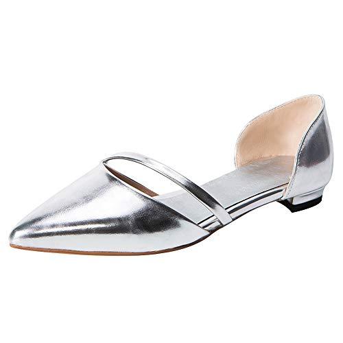 Jamron Mujer Europea Dedo del Pie Puntiagudo D'orsay Zapatillas de Ballet Ponerse Pumps Zapatos de Vestir...