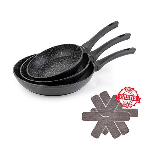 Linnuo Pfannenset 3 teilig - Antihaft Pfanne Induktion - hochwertige Pfannen mit Soft Touch Griffen - Alu Bratpfanne Set Marmor Granit Keramik beschichtete Pfanne 28 cm, 24 cm, 20 cm - schwarz