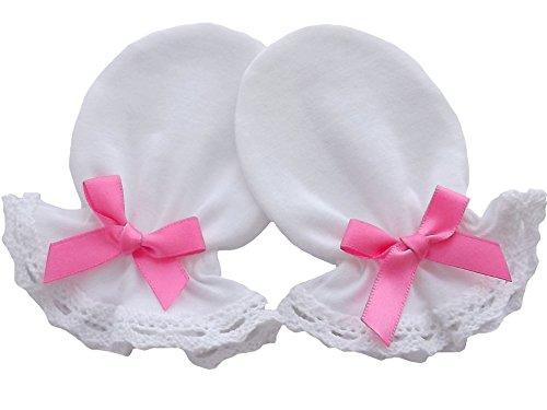 Moufles anti-grattage pour nouveau-né, 100% jersey de coton et dentelle, faites à la main (blanc) blanc Rose Bow 0-3 mois