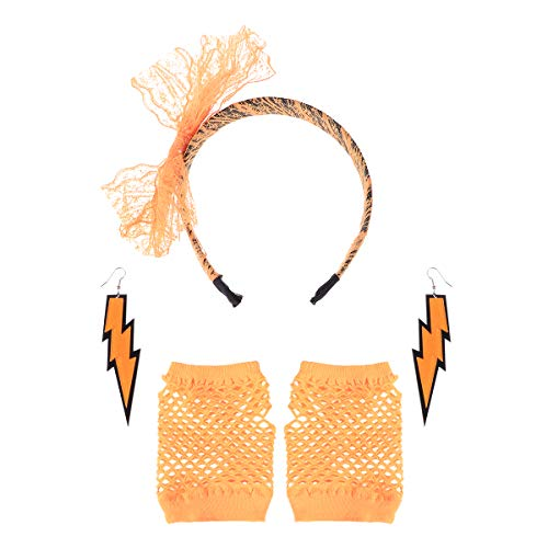 STOBOK 80er Kostüm Set Lace Stirnband Ohrring Fischernetz Handschuhe für Party Mädchen Retro Theme Party Supplies 3 Stück (Orange)