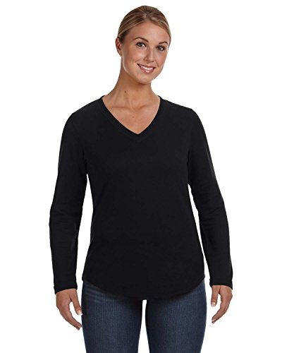 Ladies' V-Neck French Terry Pullover BLACK L (Top Danskin Schwarz)