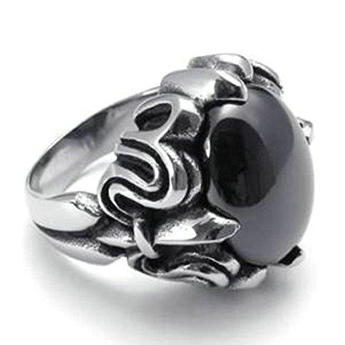 Epinki Edelstahl Herren Ringe, Klaue Form Gotik Edelstahlringe Bandringe Ring Schwarz Silber 21mm Gr.67 (21.3)