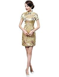 e257568ef754 Hzjundasi Cinese Tradizionale Donne Retro Floreale Stampato Maniche Corte  Cheongsam Broccato Qipao Vestito da Sera