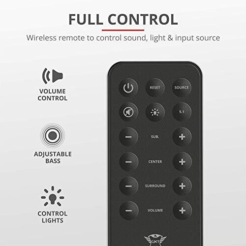 Trust Gaming GXT 658 Tytan 5.1 Surround Lautsprecher Set mit Fernbedienung (180 Watt, LED Beleuchtung) schwarz - 5
