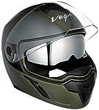 Vega Ryker D/V Full Face Helmet (Dull Battle Green, M)
