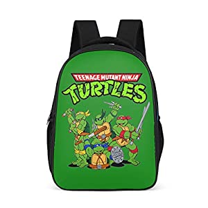 Mochila Escolar para niños pequeños, con diseño de Tortugas Ninja, Color Verde Gris Gris Talla única