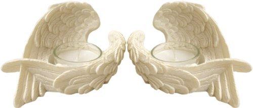 (Engel Flügel Weiß Teelicht Kerzenhalter aus Kunstharz, wunderschön Engel Geschenk Dekor-kostenloser Versand)