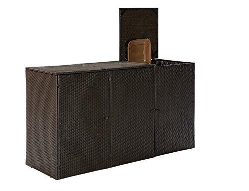 Mülltonnenbox für 3x Tonnen bis 120 Liter, 189x66x109cm, Stahl + Polyrattan Geflecht braun - 2