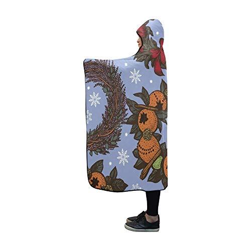 JOCHUAN Mit Kapuze Decke Weihnachtskränze auf Blauer Decke 60 x 50 Zoll Comfotable Hooded Throw Wrap