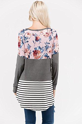 Femme T Shirt Manches Longues Col Rond Chic Elégante Vintage Ethnique Style Imprimé Fleurs Splicing À Rayures Fashion Loisirs Automne Hiver T-Shirt Blouses Chemisiers Shirts Tops Gris