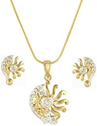 Pendant Set American Diamond 24k Gold Plated Bollywood Beautiful Designer Pendant Set For Women-CPS8065 By DG...