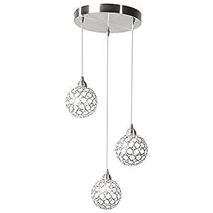 h nge pendel leuchte kristall kugel wohnraum lampe flur beleuchtung 3 flammig globo 56630 3h. Black Bedroom Furniture Sets. Home Design Ideas