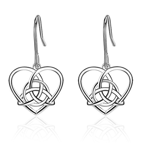 925Sterling Silber vintage Irish Keltischer Knoten Dreieck LOVE Herz Baumeln Ohrring (Magnet Ohr-manschette)