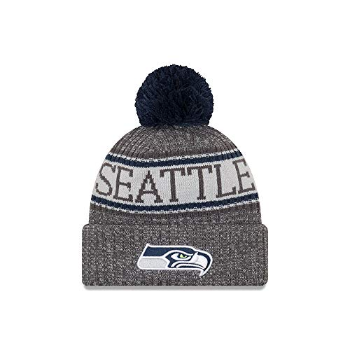 New Era Seattle Seahawks Beanie NFL 2018 Sideline Sport Graphite Knit Navy/Grey - One-Size