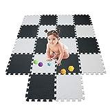 meiqicool Puzzlematte Spielmatte Spielteppich Schaumstoff Puzzle Kinderteppich Boden Puzzle kriechen Play Spiel Matte für Baby Kinder,Kleinkind sicher zu verwenden Schwarz-weiß-grau 18 PCS 0104