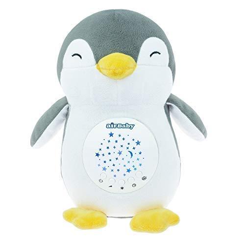 Pepe The Penguin AirBaby White Noise Sleep Aid Night Light & Shusher Sound Machine, Baby Cry Censor e ricaricabili Ninne nanne Neonato Doccia
