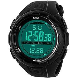 Sport Armbanduhr by QBD Herren Multifunktionsjacke Military Wasserdicht Einfache Design Big Fall Digitales LED-Display Casual Business Armbanduhr