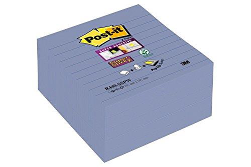 Post-it R440SPW Haftnotiz Super Sticky Z-Notes (101 x 101 mm, liniert, 90 Blatt) 5 Stück hellblau