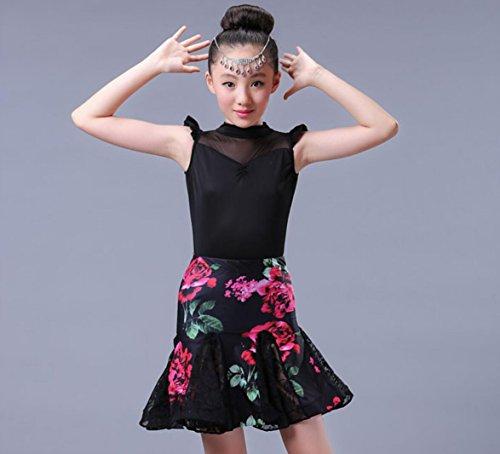 Kinderkleidung und lateinischer Tanzrock Mädchen Kostümwettbewerb Kostüm Tanzkleid für Kinder schwarz , (Details Kostüme Tanzkleider)