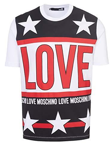 Love moschino uomo t-shirt maglia bianco primavera estate art m47321um3876 a00 p18 (l)