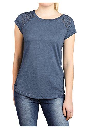 Fresh Made Damen Shirt mit Spitze Einfarbig | Frauen T-Shirt Uni mit Spitzeneinsatz und Rundhals-Ausschnitt middle-blue1