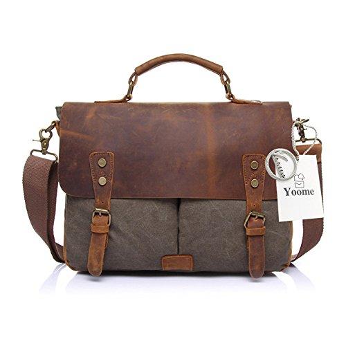 6423214b8c Yoome Men's Briefcase Sac à bandoulière en Cuir Vintage Sac à bandoulière  Toile Messenger School Satchel