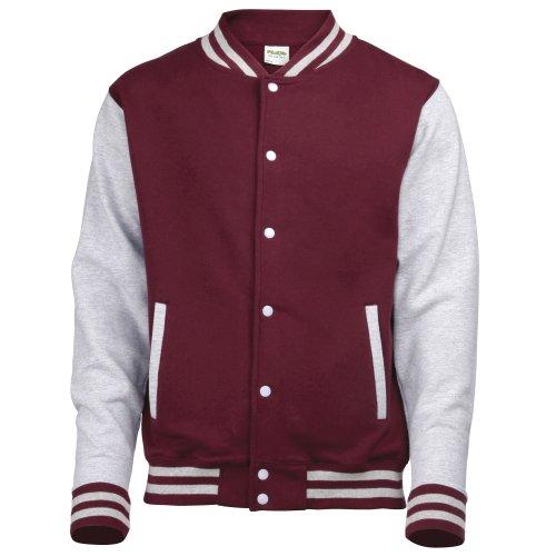 Just Hoods by AWDis Herren Jacke Varsity Jacket Rot - Burgundy / Heather Grey