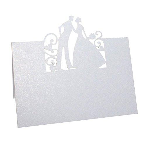 Preisvergleich Produktbild Pixnor 50 Stück Ortsname Karten Einladung Karte Brautpaar Hochzeit Party Dekoration gefallen (weiß)